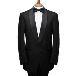 men winter brown jacket UK - Black Trim Fit Wedding Tuxedos for Groom Wear 2018 Shawl Lapel Three Piece Business Men Suits Custom Made Groomsmen Suit (Jacket + Pants)
