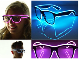 $enCountryForm.capitalKeyWord NZ - Free shipping El Wire Glow Sun Glasses Led DJ Bright Light Safety Light Up Multicolor Frame Voice control led flashing glasses