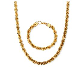 $enCountryForm.capitalKeyWord UK - Hip Hop Golden Necklace & Bracelet Twist Rope Chain Fashion Cheap Price For Promotio