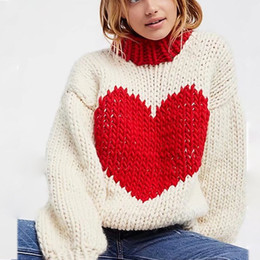 Women sequin jumper online shopping - Fashion blogger red heart sweaters  women round neck long sleeve eb4b179ca