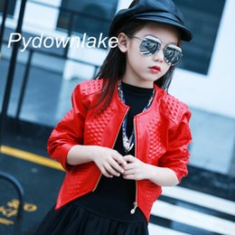 Barato Jaqueta De Couro Menina Vermelho-3-12Y Moda Red Black 2017 Spring Long Sleeve Coat Kids Big Girls Jacket PU Leather Girl Jacket Children Outerwear