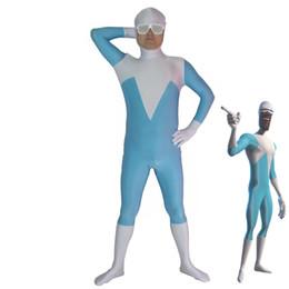 zentai hero cosplay 2018 - Frozone Superhero Kids Adult Costume Spandex Lycra Zentai Bodysuit Cosplay Halloween Party Costume discount zentai hero