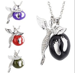 Pregnancy Chime Pendant Canada - Chimes Pregnancy Ball necklace Mexico Angel's footsteps Bola Solid ball Necklace pendant Fetal education angel caller necklace 4 colors