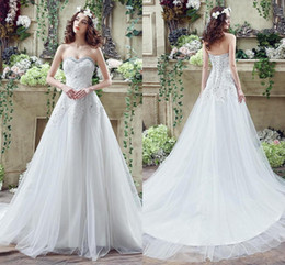 Discount white long sexy summer wedding dresses - White Ivory Lace Wedding Dresses Cheap A Line Sweetheart Tulle Lace Appliqued Beads Long Corset Back Under 100 Bridal Go