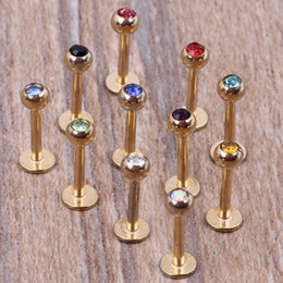 Lip Piercing Wholesale NZ - Gold lip bar 100pcs lot mix 7 colors steel body jewelry piercing lip ring labret