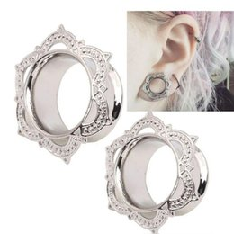 flower tunnels 2019 - Plugs And Tunnels Stretcher Gauges Tribal Lotus Flower Double Flare Gold Copper Ear Expander Body Jewelry