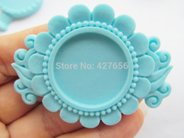 bezel settings wholesale for resin NZ - 100pcs Pink Hot Pink Light Blue Purple Flatback Resin Sunflower Charm Finding,Base Setting Tray Bezel,for 25mm Cabochon Cameo