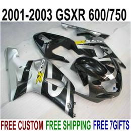 Kit Gsxr K1 Australia - Top quality ABS fairings set for SUZUKI GSX-R600 GSX-R750 2001-2003 K1 silver black fairing kit GSXR 600 750 01 02 03 SK37