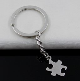 $enCountryForm.capitalKeyWord Canada - Fashion 20pcs lot Key Ring Keychain Jewelry Silver Plated puzzle piece Charms