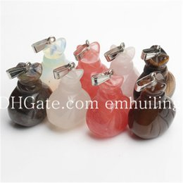 lucky charms pendants NZ - Handbag Shape Tiger Eye Pendant Healing Rose Quartz Agate Crystal Stone Lucky Bag Pendant Natural Stone Mascot Fortune Bag Pendants Charms