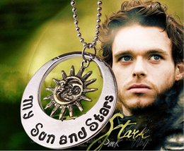 $enCountryForm.capitalKeyWord NZ - vintage alloy Game of Thrones Lettering my sun and stars moon Smiley necklace Helios Sun god pendant Apollo Smiling face necklace men x098