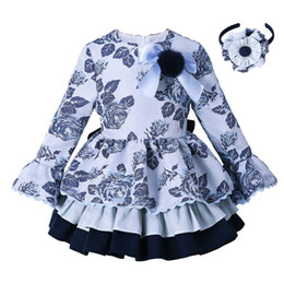 Chinese  Pettigirl Blue Grace Flower Kids Girls Dresses Brand Ruffle Dress Spring And Autumn Children Clothes Casual Wear For Kids G-DMGD008-B98-958 manufacturers