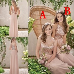 Barato Vestido De Casamento Ruffle Ouro-Rose Gold Sequined Vestidos de dama de honra 2018 Sequins Long Chiffon Halter A Line Straps Ruffles Blush Pink Maid Of Honor Wedding Guest Dresses