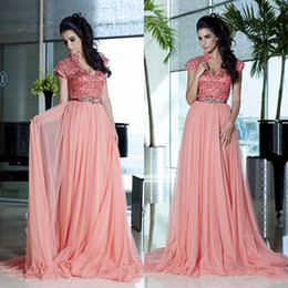 $enCountryForm.capitalKeyWord NZ - 2015 Peach Lace Top Prom Dresses Fashion V neck A line Chiffon Fabric Sleeveless Hot Party Evening Gowns High Quality Special Wedding Gown