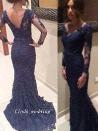 Images Long Dresses Red Colour Canada - Free Shipping New Navy Blue Colour Trumpet Mermaid V neck Long Sheer Sleeves Applique Sweep Brush Train Lace Backless Long Evening Dresses