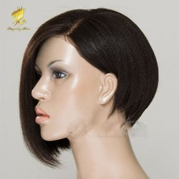 full lace wig side part Canada - light yaki straihgt bob wig human hair wholesale Full lace bob wig lace front wig with bangs for black women side part