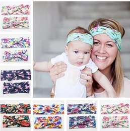 orange photography 2019 - Parent-Child print Flower headband Bunny Rabbit knot ear Hair wrap Infant Toddler headwear baby girl Photography Prop WO