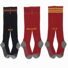 Toptan satış 2018 2019 Arjantin Belçika İspanya İtalya Kolombiya Erkekler yetişkin / ÇOCUK Brezilya Futbol Çorap Kalın Erkek milli takım Futbol Sporları Çorap