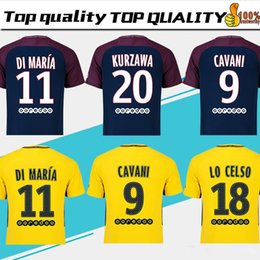 Club 29 Baratos-# 10 NEYMAR JR home Soccer Jersey 17/18 # 29 MBAPPE away amarillo Camiseta de fútbol # 9 CAVANI 3rd black club team Uniforme de fútbol 2018