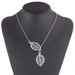 $enCountryForm.capitalKeyWord Canada - Pendant Fashion Charm Chunky Statement Bib Chain Choker Pendant Necklace Jewelry Simple Necklaces single layer leaves Leaf Chain Silver Gold