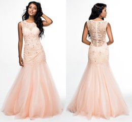 Barato Vestido Com Contas De Rosa-Light Pink Tulle Mermaid Pageant Vestidos com Bling Rhinestone 2018 Vestidos de vestidos vermelhos Vestidos de noite Mulheres Formal Wear With Beaded Sweep Train