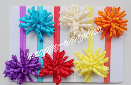 Curly hair baby girl online shopping - 12pcs Girl Boutique Solid Korker curly Ribbon Hair clips bows Elastic Iridescent headband baby corker hair bands Christening hair ties PD01