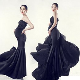 Black Props NZ - New Maternity Photography Props clothing for pregnant women Mermaid Dress Pregnancy black Romantic set Princess Free shipping