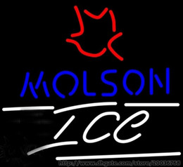 """Hot Bar Australia - Hot Molson Ice Small Maple Leaf Neon Sign Commercial Custom Sign Store Display Beer Bar Sign Real Glass Tube 17""""X14"""""""
