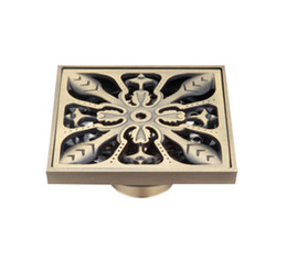 $enCountryForm.capitalKeyWord Canada - Luxury Antique Brass Flower Floor Drains Bathroom Shower Floor Drain Strainer 3MM -Thick Panel 10*10 cm