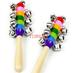 Discount bell shakers - 50pcs lot Free Shipping Hot Selling Delicate Baby Kid Rainbow Pram Crib Handle Wooden Bell Stick Shaker Rattle Toy