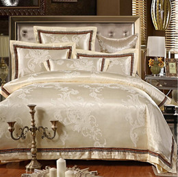 jacquard silk bedding set luxury 4pcs embroidered satin doona duvet cover queen king size bed linen bedclothes cotton