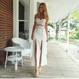 Tenues Sexy En Crochet Pas Cher-Style européen Sexy High Slit Fake One Piece Outfits Bodycon Bandage Maxi Dress Vestido Longo Femme Robe en dentelle Crochet