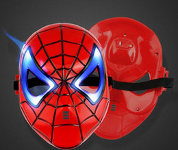 $enCountryForm.capitalKeyWord NZ - LED Eyes Light Spiderman Mask Dance Mask Halloween Props Cartoon Mask Children Mask plastic mask party mask
