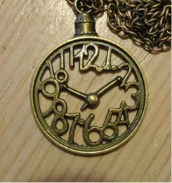 $enCountryForm.capitalKeyWord Canada - 10pcs Wholesale Fashion Vintage Bronze ALICE IN WONDERLAND CLOCK Necklace Pendants For Women Jewelry DIY Accessories P1679