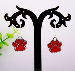 wholesale paw print Australia - New Hot 20pair lot Drop Glaze Multi Dog Paw Prints Charm Pendant 925 Sterling Silver Dangle Earrings Women Accessories Holiday Gifts S857