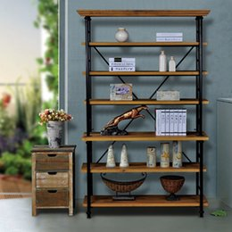 European Retro Do The Old Iron Floor Living Room Multilayer Metal Bulkhead Storage Rack Wrought Wood Shelves
