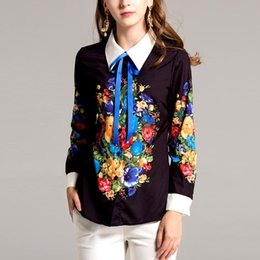 Barato Camisa Floral Do Colar Do Laço-New Arrival 2018 Spring Women's Turn Down Collar Mangas Longas Floral Impresso Lace Up Elegant Trackway Shirts