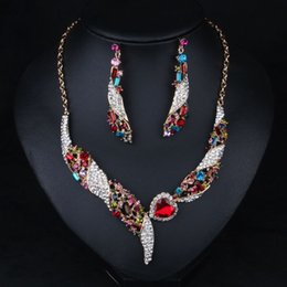 $enCountryForm.capitalKeyWord Canada - 2015 New bride color crystal gemstone necklace+ earring Jewelry Sets Accessories clavicle chain dress accessories