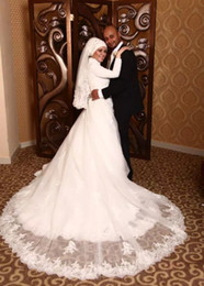 Vintage Dress For Muslim Australia - 2015 Vintage Beaded Lace Muslim Wedding Dresses for Women with Long Sleeves White Tulle A Line Islamic Bridal Gowns with Covered Buttons
