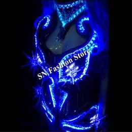 Barato Desgaste Iluminado Da Dança-AS005Colorful RGB led light costume salão de baile dance dress cantor cosplay Bar espelho sexy catwalk cloth party dj disco stage wear
