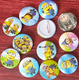 wholesale plastic minions Australia - Cartoon Despicable Me 2 Minions Brooches Kids Girls Boys Round Buttons Pins Chirstmas Birthday Gifts 2016 Europe Trendy K903