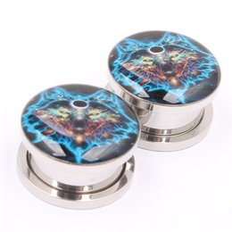 tunnel plugs 16mm NZ - 70pcs 5-16mm Bubble Style Sinister Wolf Screwed Logo Ear Plug Tube Flesh Tunnel Ear Gauges Expander Stretcher Body jewelry