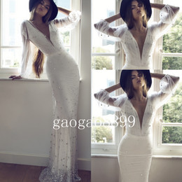 Crystal Arabic Wedding Canada - 2019 Spring Zahavit Tshuba berta Long Sleeve Wedding Dress Amazing Sparky Luxury Crystal Beaded Sequin Mermaid Dubai Arabic Wedding Blog