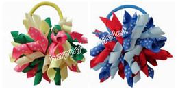 KorKer ribbon hair bows online shopping - 12pcs Random quot M2M Gymboree style prints dot Curlies loop Ribbon Korker hair bows clips Girl women Corker hair ties Accessories PD007
