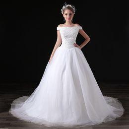 $enCountryForm.capitalKeyWord Canada - Modern Off The Shoulder Wedding Dresses 2017 Sweep Strain Crystal Tull Sleeveless Formal Bridal Dresses Wedding Gown Custom Made Plus Size