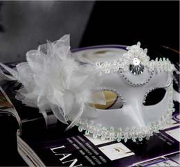 $enCountryForm.capitalKeyWord Australia - Women Girls Party Performance Masks Halloween Party Show Side Flower Masks Masquerade Face Masks PvC Upper Half Face Masks for Women
