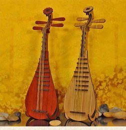 Chinese Lute Model Decorative Furniture Wood Creative Classical Beautiful  Chinese Style Gift Hand Craft Red Yellow