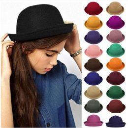 89fa1e009a98f New Stingy Brim Hats Women Felt trilby wool felt hats Vintage Trendy Wool  Felt Cloche Bowler British jazz homburg top hats 1502