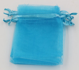 Sacs de poche de cadeau de bijoux d'organza bleu clair de MIC pour des faveurs de mariage, des perles, des bijoux 7x9cm, 9X11cm, 13x18cm (313) en Solde