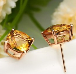Natural Gold 18k NZ - Wholesale top quality 18K rose gold plated 925 Silver AAA checkerboard cut yellow Natural Citrine earring for women